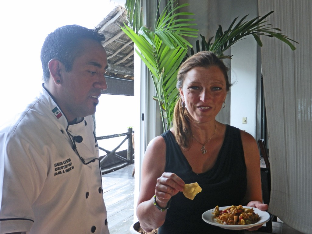 Shawna Coronado and Carlos Capistran with Shrimp Veracruz
