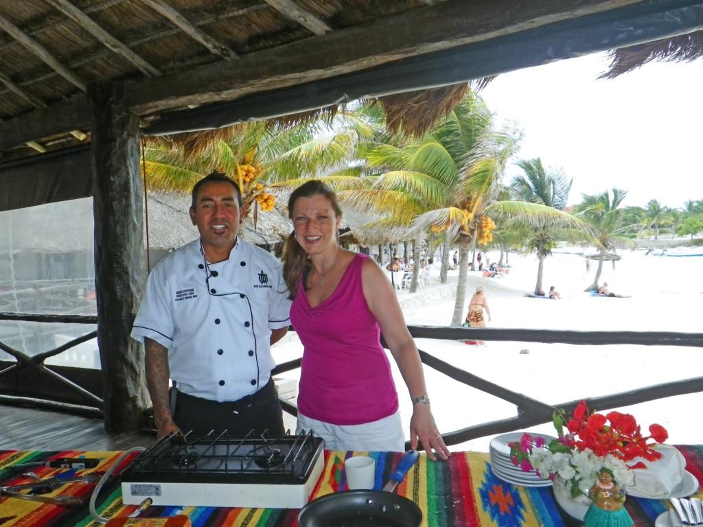 Chef Carlos and Shawna Coronado cooking on the beach