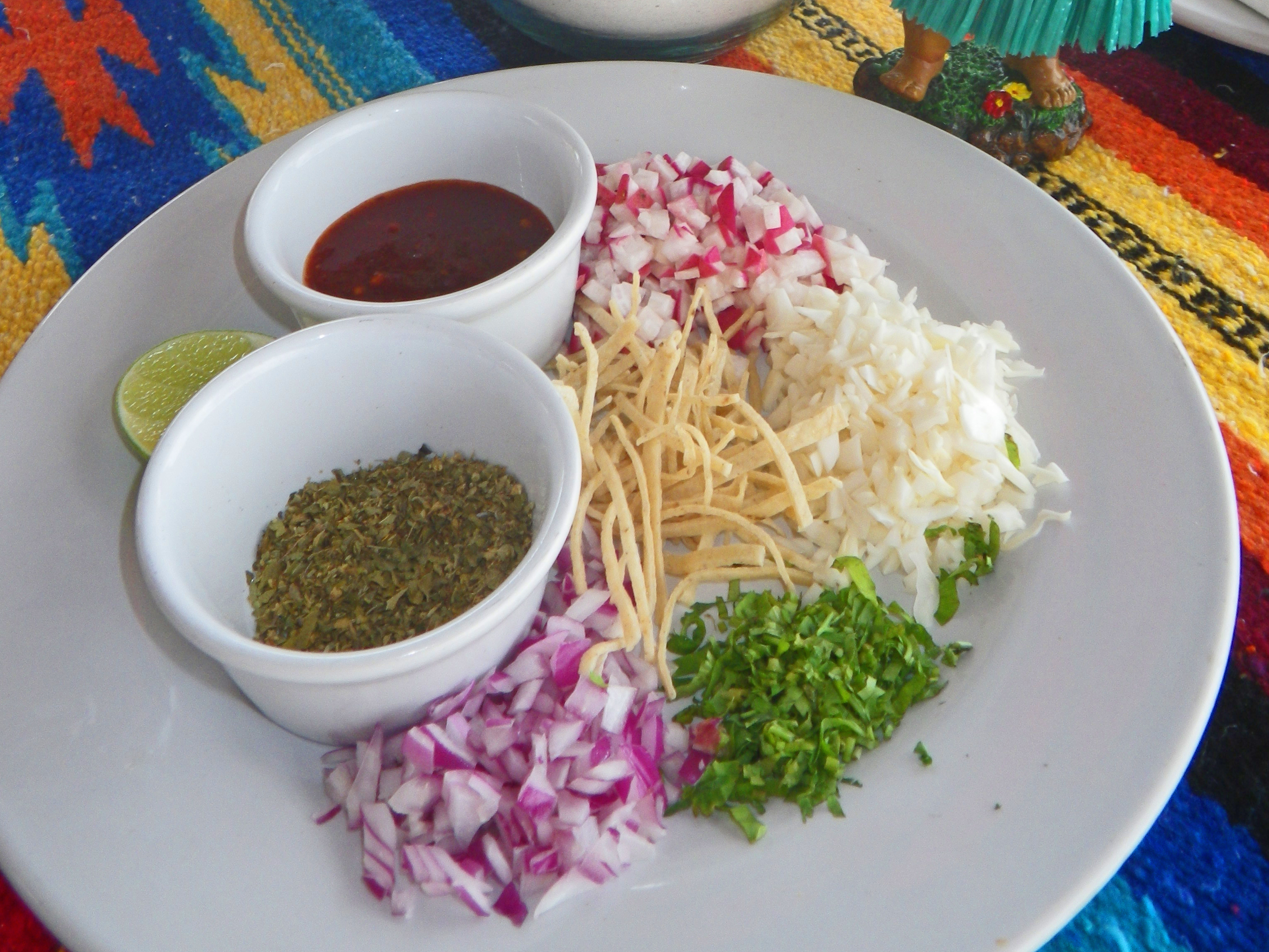Yucatan Mexico Pazole toppings
