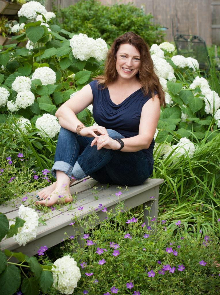 Shawna Coronado in her back garden.  photo credit Sheila Rutledge