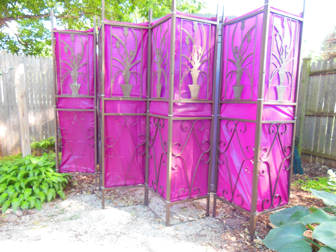 Garden Screen Made From Used Wrought Iron And Old Table Clothes