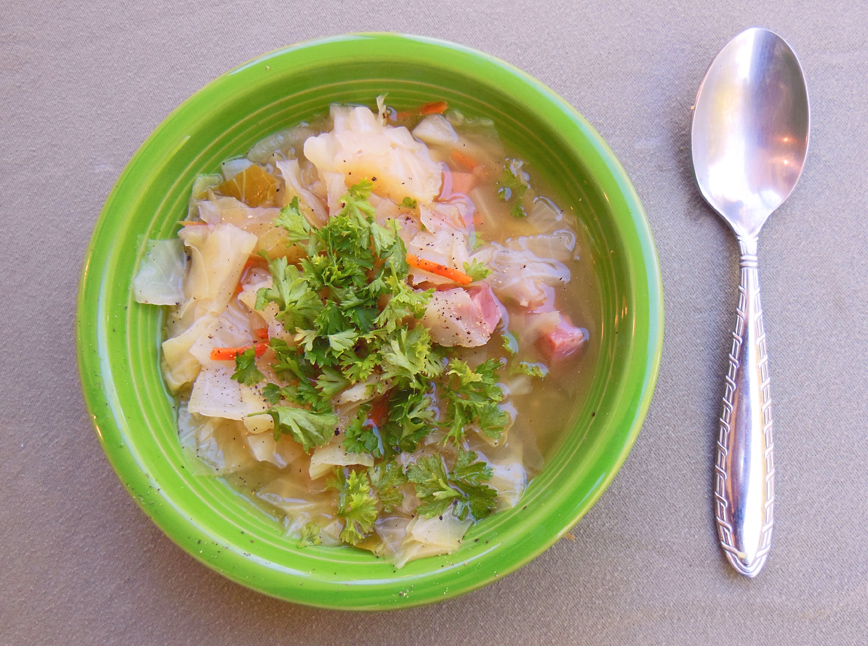 Fresh From the garden Cabbage with Ham Soup