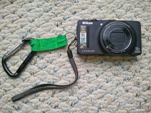 Nikon Coolpix with carabiner attached