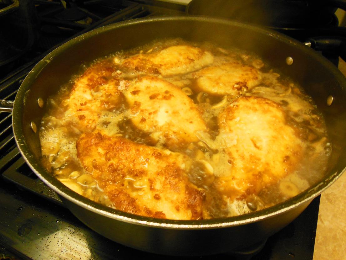 Chicken Marsala simmering