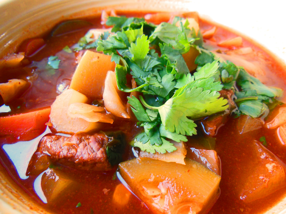Beef vegetable soup in bowl