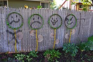 Graffiti vandalism on my garden fence