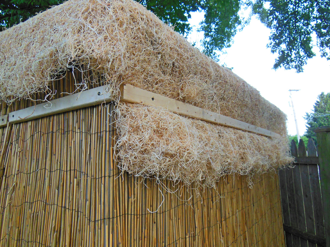 Tiki Hut shed roof installation - trim over seed germination blanket mat
