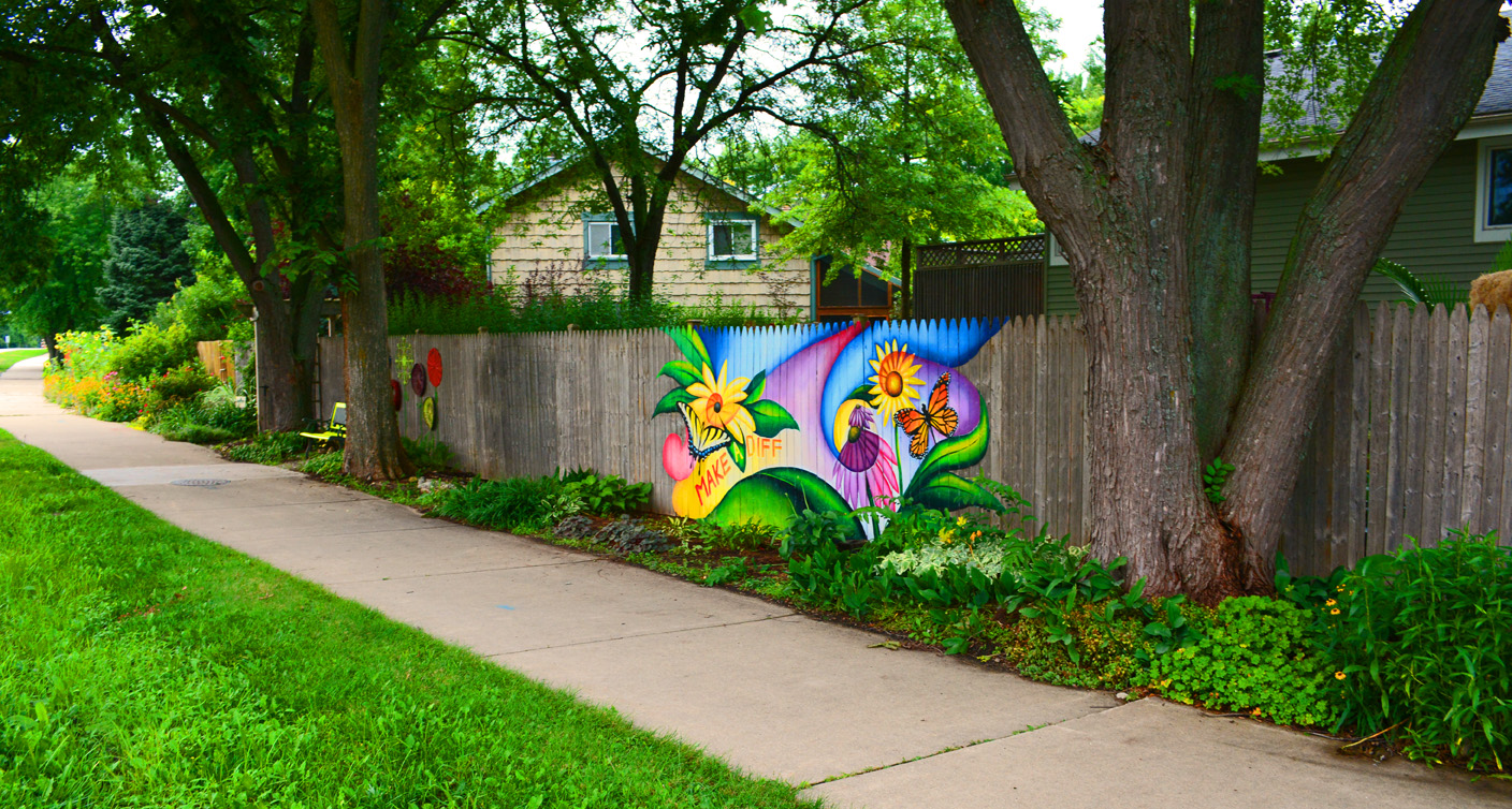 Mural art in the garden to cover graffiti shawna coronado for Mural of flowers