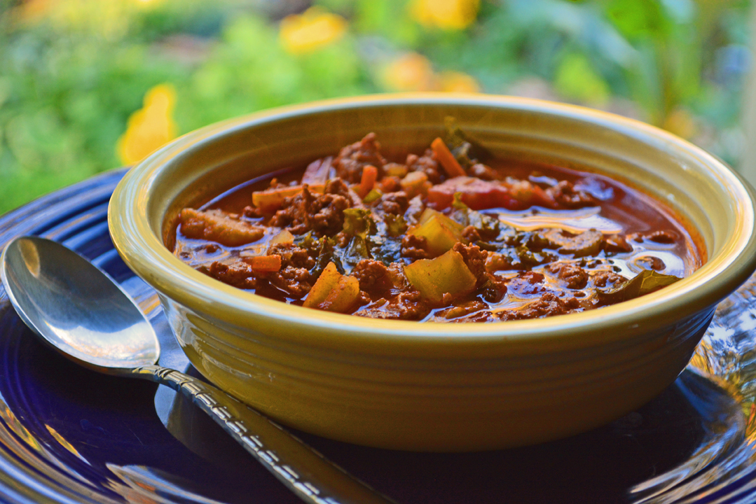 Crockpot Chili Recipe Made From Onion Soup, Ground Turkey, and Vegetables