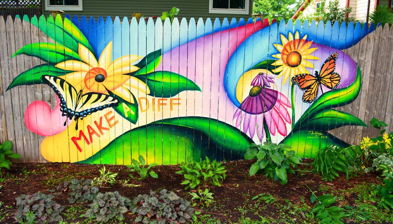 The graffiti experiment please help save my fence for Mural flower