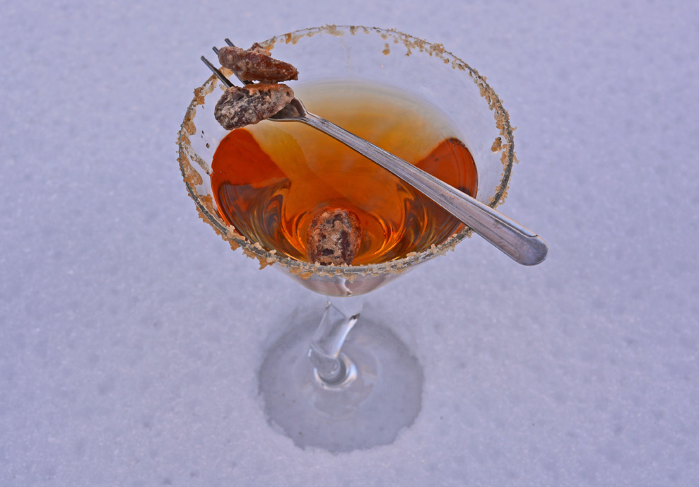 Pecan Pie Martini Cocktail with Candied Pecans and Cocktail Fork