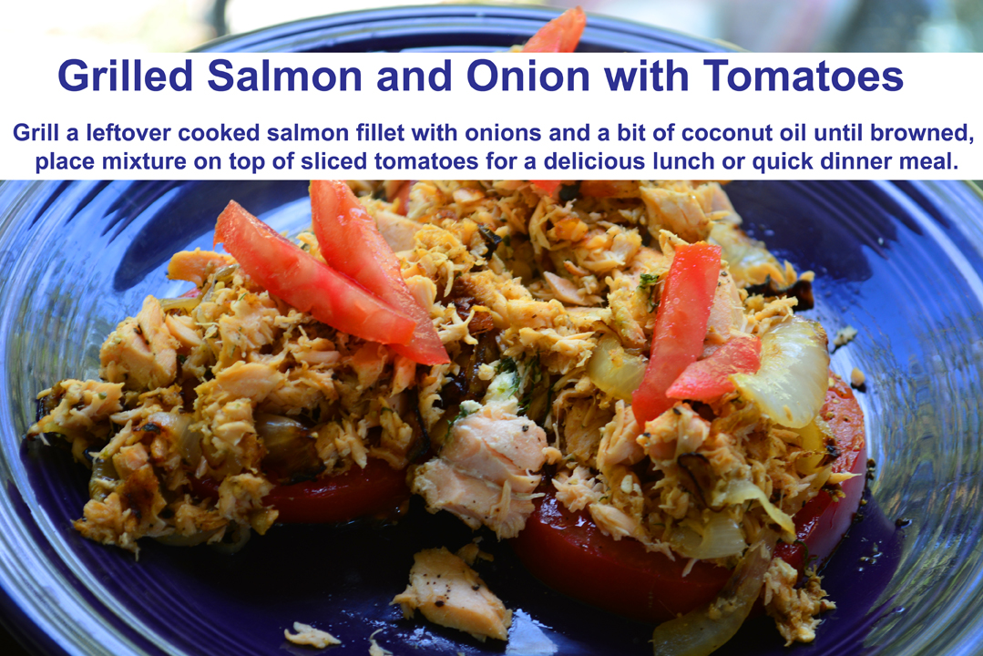 Grilled Salmon and Onions with Tomatoes Recipe