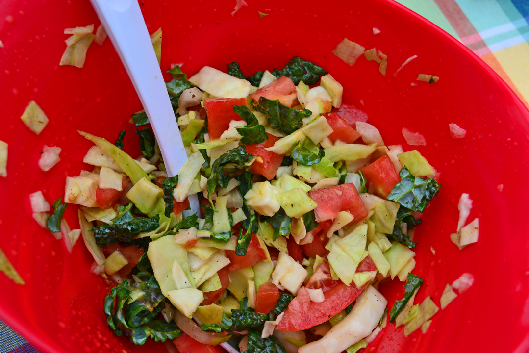 Cabbage Kale and Tomato Salad Recipe in Hold Bowl