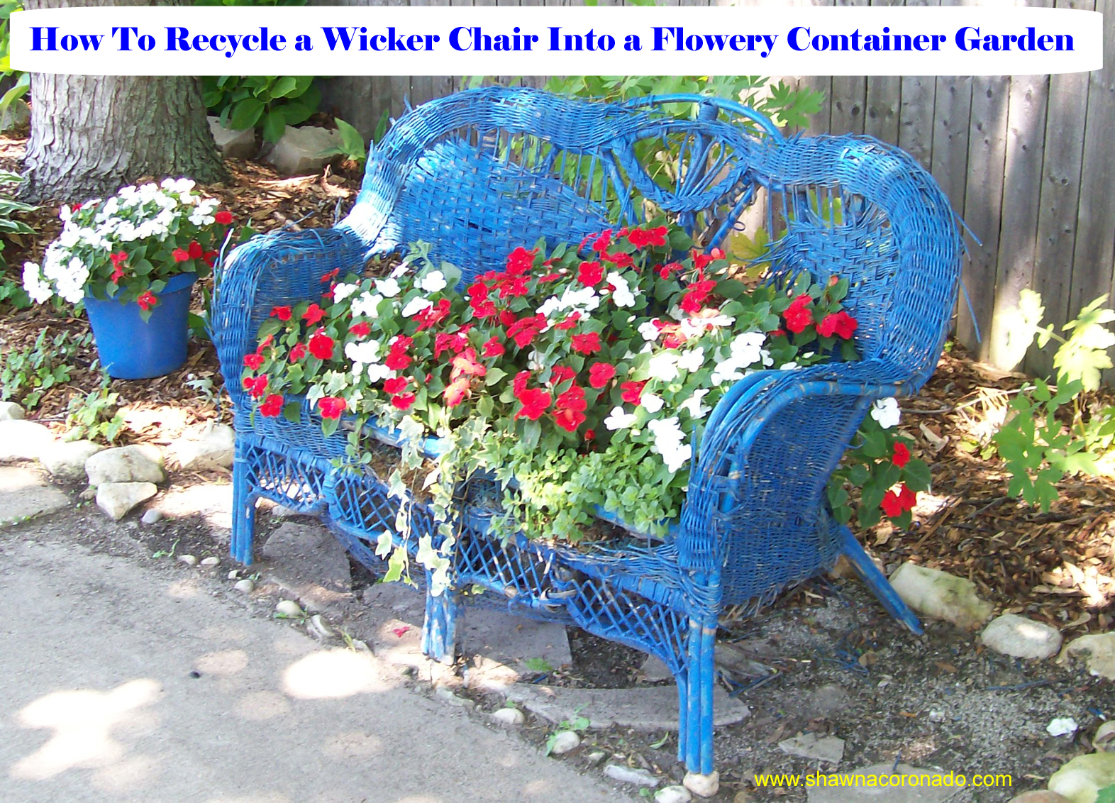 Container Gardening Idea – How To Recycle An Old Wicker Loveseat