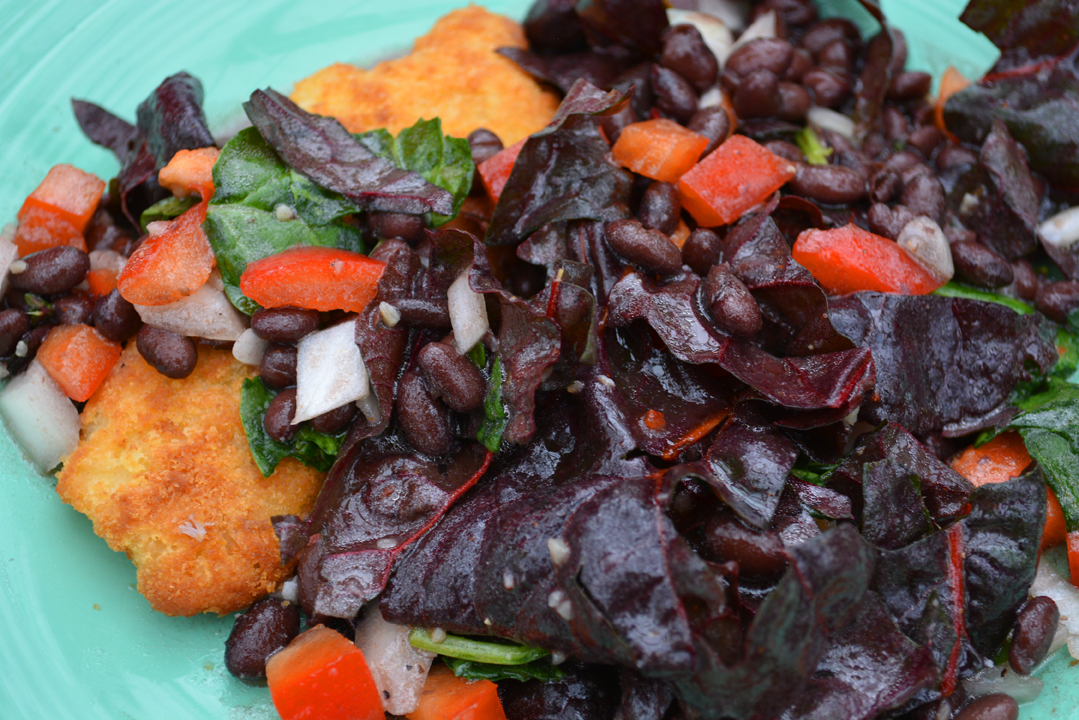 White Fish with Black Bean and Swiss Chard Salad Recipe Plate