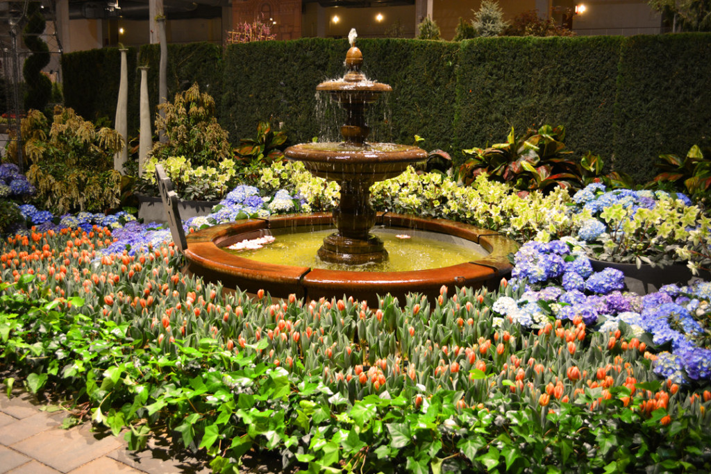 Fountain and Hydrangeas at the Chicago Flower and Garden Show