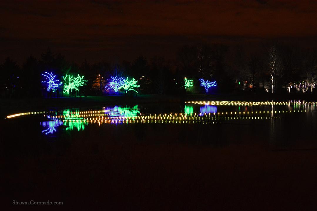 Morton Arboretum Illuminations Lights on Lake