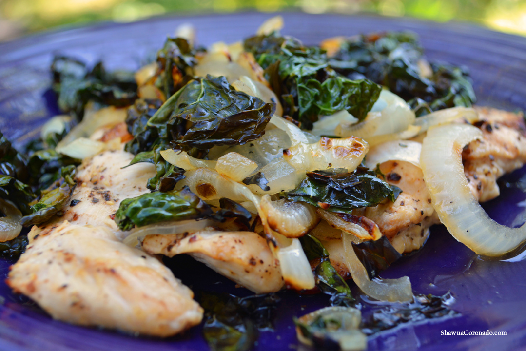 Grilled Chicken with Garden Kale and Onion Recipe