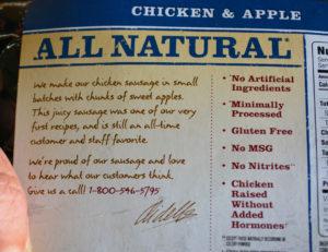 Aidells Chicken Apple Sausage Label copyright Shawna Coronado