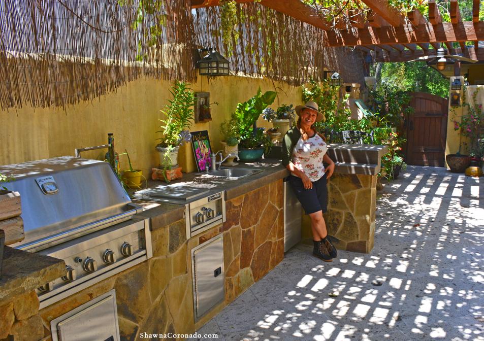 Shirley Bovshow in her Garden Kitchen
