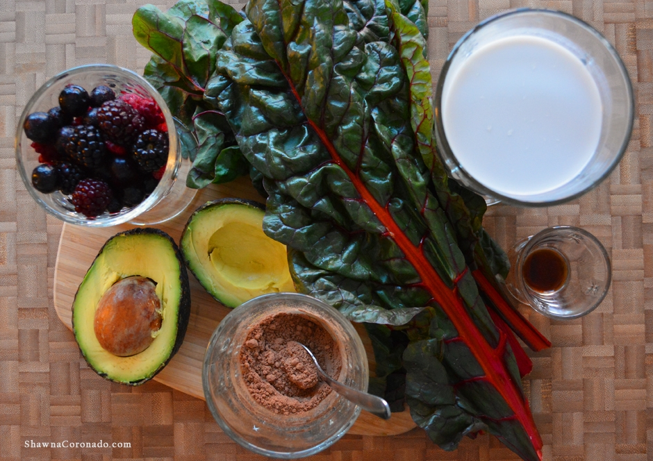 Chocolate Avocado Swiss Chard Smoothie Ingredients