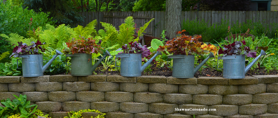 Heuchera and Zinc Container Garden Design Photo