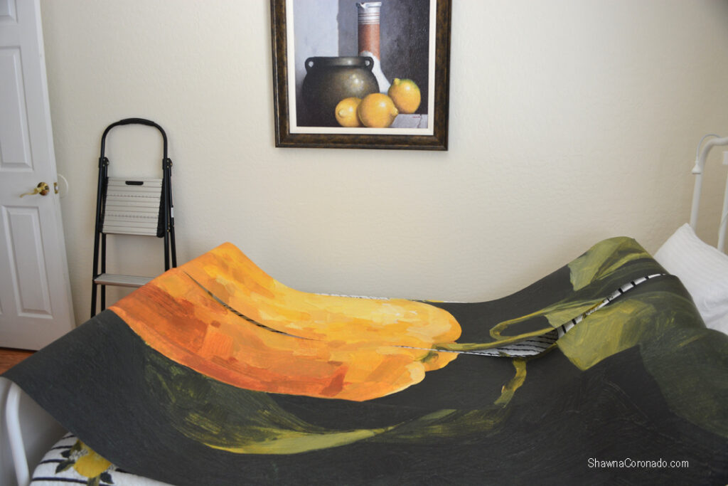 Lemon mural wallpaper laid out