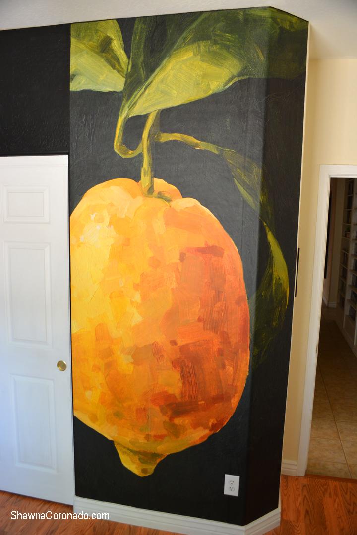 Lemon wall mural installed