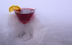 Pomegranate Martini in Snow
